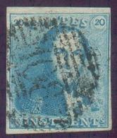 N°2 - Epaulette 20 Centimes Bleue, Très Bien Margée Et Petit Bdf Supérieur, Obl. P.108 SOIGNIES Centrale Et Nette. - B - - 1849 Epaulettes