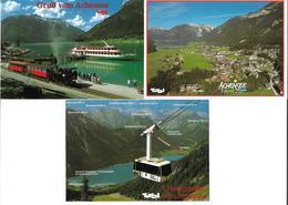 1651p: 3 AKs Achensee, Maurach, Eisenbahn- Und Schiffsmotiv, Seilbahn, Ungelaufen - Schwaz