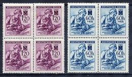 BOHEMIA & MORAVIA 1942 Red Cross Set In Blocks Of 4 MNH / **. Michel 111-12 - Bohemia & Moravia