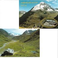 1651i: 2 AKs Luftaufnahme Amberger Hütte- 6444 Längenfeld, Ungelaufen, Hüttenstempel - Imst