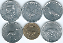 Somaliland - 1 - 1994 (KM1), 5 - 2002 Burton (KM4); KM5; 2005 - (KM19)  10 Vervet - 2002 (KM3) 20 Shillings Dog (KM6) - Somalia