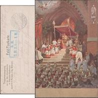 Allemagne 1915. Carte De Franchise Militaire. Bénédiction Des Troupes, église Saint-Jean. Ange Soldats, Enfants De Chœur - Christianisme