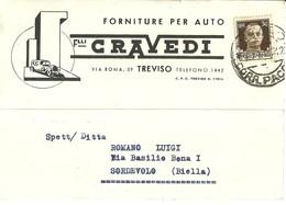 """2754 """" F.LLI CRAVEDI - TREVISO - FORNITURE PER AUTO """" CARTOLINA POST. ORIG. SPED. - Negozi"""