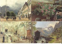 1651m: 4 AKs Rudolf Von Alt (1812-1905), Ungelaufen - Künstlerkarten