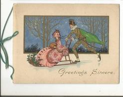 CPA , Th. Fête., Greetings Sincere , Couple De Luge ,Livrets 4 Pages Dorée A L' Or Fin - Fêtes - Voeux