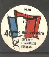 France  - 1960 French Communist Party 40th Anniversary (circular) Poster Stamp - Commemorative Labels