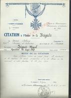 MILITARIA ARMÉE 7 DvInf 40 BRIGADE LE CITATION À L ORDRE BRIGADE GÉNÉRAL DEBENEY 238e A JNIGUÉS MIGUEL : - 1939-45