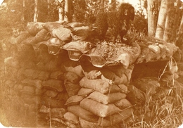 PHOTO FRANÇAISE - NID DE MITRAILLEUSE AU BORD DE LA VESLE A TAISSY PRES DE REIMS MARNE 1919 - GUERRE 1914 1918 - 1914-18