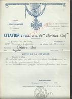 MILITARIA ARMÉE 7 D Inf  CITATION À L ORDRE 56e DIVISION Inf  GÉNÉRAL J TIERRY ? A POIRIER RENÉ BRIGADIER  : - 1939-45