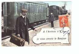Train Avec Train Locomotive à Vapeur Cpa Carte Fantaisie à L' Arrivée à Dugny Je Vous Envoie Le Bonjour Cachet 1908 - Stazioni Con Treni