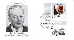"BRD Schmuck-FDC  ""100. Geburtstag Von Kurt Georg Kiesinger"", Mi. 2396 ESSt 7.4.2004 BONN - BRD"