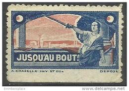"""France  - """"Until The End"""" Patriotic Poster Stamp - Commemorative Labels"""