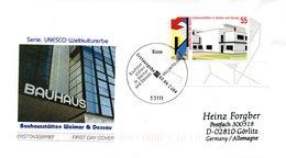 """BRD Schmuck-FDC  """"Bauhausstätten In Weimar Und Dessau"""", Mi. 2394 ESSt 7.4.2004 BONN - BRD"""