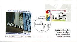 """BRD Schmuck-FDC  """"Bauhausstätten In Weimar Und Dessau"""", Mi. 2394 ESSt 7.4.2004 BERLIN - BRD"""