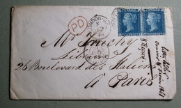 ENVELOPPE 1861 LONDRES - FRANCE - PAIRE 2 Pence - 1840-1901 (Victoria)
