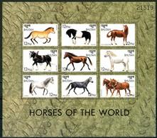 BHUTAN 1999** - Cavalli / Horses  -block Di 9 Val. MNH Come Da Scansione - Cavalli