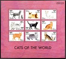 BHUTAN 1999** - Gatti / Cats  - Block Di 9 Val. MNH Come Da Scansione - Gatti