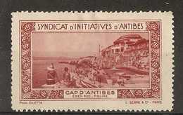 France  -  Tourist Publicity For Cap D'Antibes - Commemorative Labels