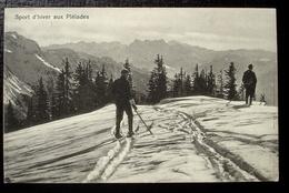 WINTERSPORT Aux Pléiades Ski-Läufer Gel. 1917 V. Blonay Stabstempel Balkenstempel LES PLÉIADES - VD Vaud