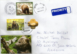 Brown Bears In Finland, Year 2018, Letter Sent To Andorra With Arrival Postmark. - Ours