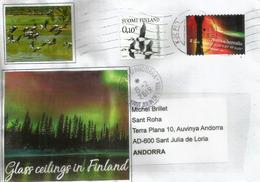 L'Aurore Boréale En Finlande, Lettre De Finlande Adressée Andorra, Avec Timbre à Date Arrivée - Finlande