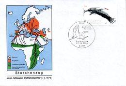 """BRD Schmuck-FDC  """"Bedrohte Tierarten (V) - Weißstorch"""", Mi. 2393 ESSt 7.4.2004 BONN - BRD"""