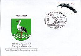 """BRD Schmuck-FDC  """"Bedrohte Tierarten (V) - Weißstorch"""", Mi. 2393 ESSt 7.4.2004 BERGENHUSEN - BRD"""