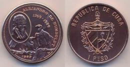 Cuba / Kuba  1 Pesos 1989  Alexander Von Humboldt  2 Kondore  Kupfer BU - Kuba