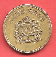 10 Santimat , MAROC , Laiton , AH 1394 , 1974 , N° Y # 60 - Maroc