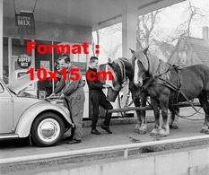 Reproduction Photographie D'un Pompiste Mettant Du Carburant à Une VW Coccinelle Et Un Homme Du Foin Aux Chevaux 1963 - Reproductions