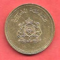 10 Santimat , MAROC , Laiton , AH 1407 , 1987 , N° Y # 84 - Maroc