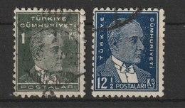 MiNr. 947, 956  Türkei 1931, 1. Okt./1933. Freimarken: Atatürk; Inschrift TÜRKIYE CÜMHURIYETI. - 1921-... Republik