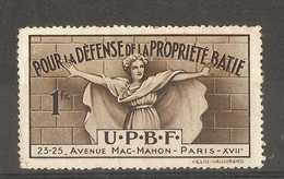 France - U.P.B.F. Pour La Defense La Propriete Batie, Paris Poster Stamp - Commemorative Labels