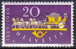 Switzerland 1949 1 V MNH 100 Years Of Swiss Post Horses Horse Chevaux Cheval Caballos Cavalli Pferde - Post