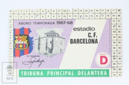 Football Club Barcelona Season Membership Pass 1967-1968 - Camp Nou - Masia - Match Tickets