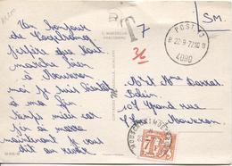 2801/ CP Humoristique En S.M. C.Post 13 22/9/77 4090 Griffe T 7 En Manuel V.Mouscron Taxée 7 Frs Par TTx 71 C.Mouscron - Marcophilie