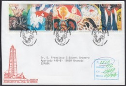 2001-FDC-56 CUBA FDC 2001. REGISTERED COVER TO SPAIN. BARBADOS TERRORISM CRASH AIRPLANE, ATENTADO AVION BARBADOS. - FDC
