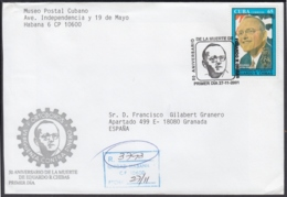 2001-FDC-57 CUBA FDC 2001. REGISTERED COVER TO SPAIN. 50 ANIV MUERTE DE EDUARDO CHIVAS, PARTIDO ORTODOXO. - FDC