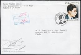 2001-FDC-59 CUBA FDC 2001. REGISTERED COVER TO SPAIN. CENT PABLO DE LA TORRIENTE BRAU. - FDC