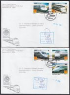 2001-FDC-62 CUBA FDC 2001. REGISTERED COVER TO SPAIN. PHILATELIC EXPO NIPPON, JAPAN, NIPPON RAILROAD, RAILWAYS. - FDC