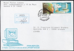 2002-FDC-37 CUBA FDC 2002. REGISTERED COVER TO SPAIN. UPAEP, TALLER INFORMATICA, COMPUTER, INFORMARTICS. - FDC