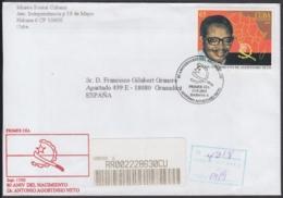 2002-FDC-44 CUBA FDC 2002. REGISTERED COVER TO SPAIN. 80 ANIV AGOSTINHO NETO, ANGOLA PRESIDENT. - FDC