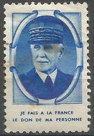 France - Philippe Petain Portrait & Citation Poster Stamp Usused - Commemorative Labels