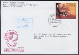 2002-FDC-45 CUBA FDC 2002. REGISTERED COVER TO SPAIN. CENT NACIMIENTO NICOLAS GUILLEN, POET. - FDC