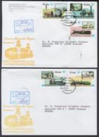 2002-FDC-50 CUBA FDC 2002. REGISTERED COVER TO SPAIN. CENT VIA HABANA – SANTIAGO. LOCOMOTORAS A VAPOR, RAILROAD. - FDC