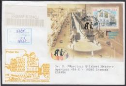 2002-FDC-53 CUBA FDC 2002. REGISTERED COVER TO SPAIN. HF PHILATELIC EXPO SPAIN, CENTRAL PARK, PASEO DEL PRADO. - FDC