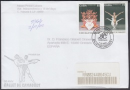 2002-FDC-56 CUBA FDC 2002. REGISTERED COVER TO SPAIN. 35 ANIV BALLET NACIONAL ALICIA ALONSO. - FDC