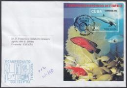 2002-FDC-57 CUBA FDC 2002. REGISTERED COVER TO SPAIN. HF PHILATELIC EXPO V CAMPEONATO NACIONAL, FISH, PECES. - FDC