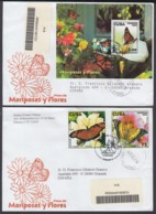 2003-FDC-50 CUBA FDC 2003. REGISTERED COVER TO SPAIN. MARIPOSAS Y FLORES, BUTTERFLIES, FLOWERS. - FDC