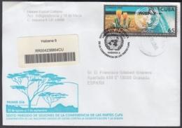 2003-FDC-56 CUBA FDC 2003. REGISTERED COVER TO SPAIN. LUCHA CONTRA DESERTIFICACION, UNCCD. - FDC